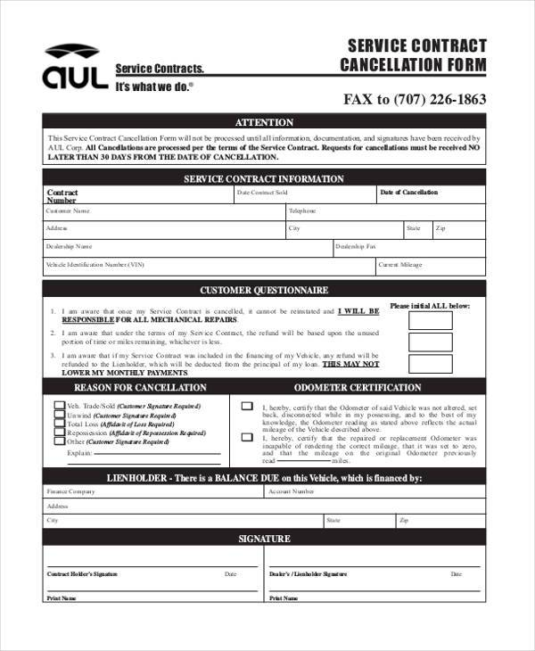 service contract cancellation form