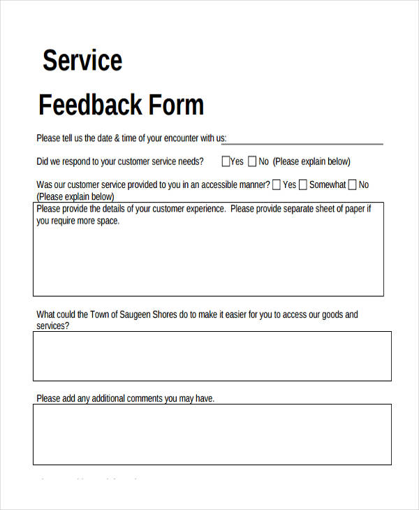 service feedback form sample1