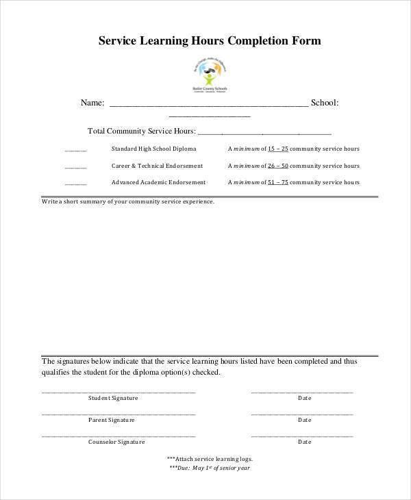 service hour completion form