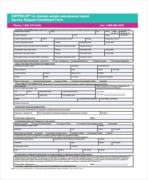 service request enrollment form