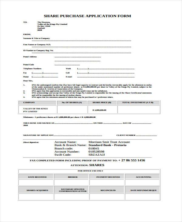 share purchase application form format