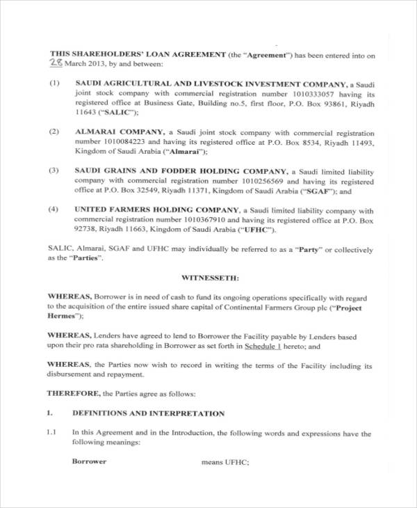 shareholder loan agreement pdf