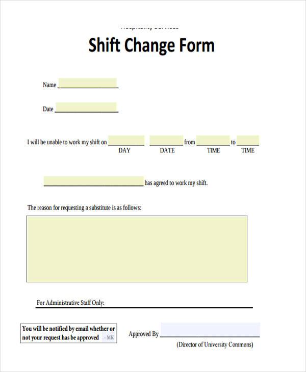 shift change form
