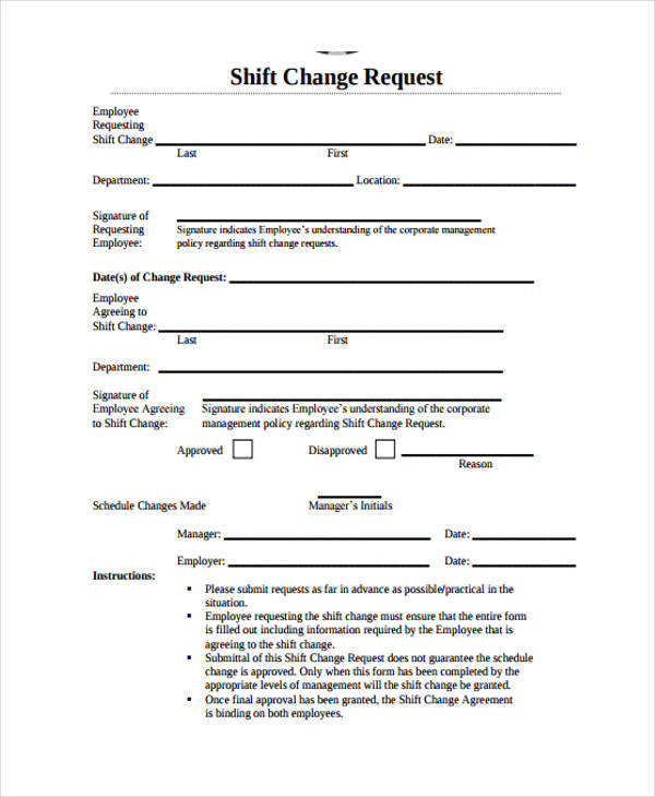 shift change forms