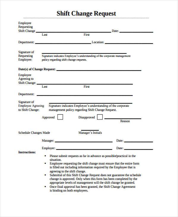 shift change request form3