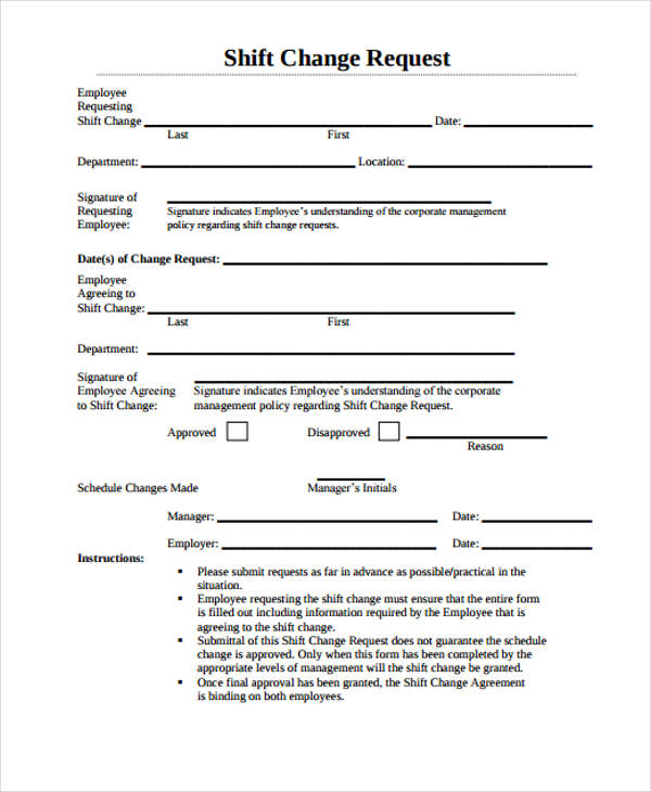 shift change request form4