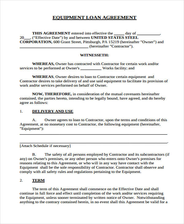 40 Printable Loan Agreement Forms – Short Term Loan Agreement Form