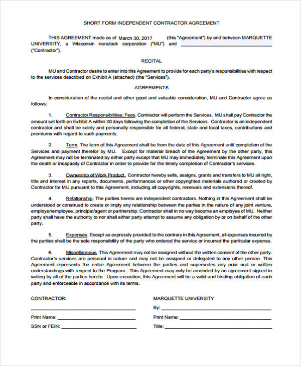 Contract Agreement Employment Contract Agreement Template Pdf