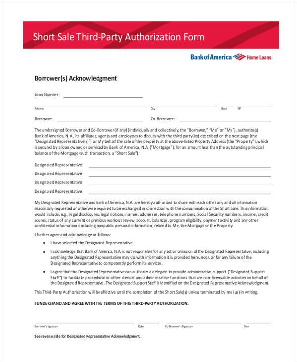 short sale third party authorization form