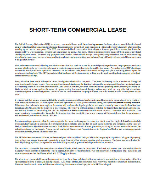 short term commercial lease agreement form2