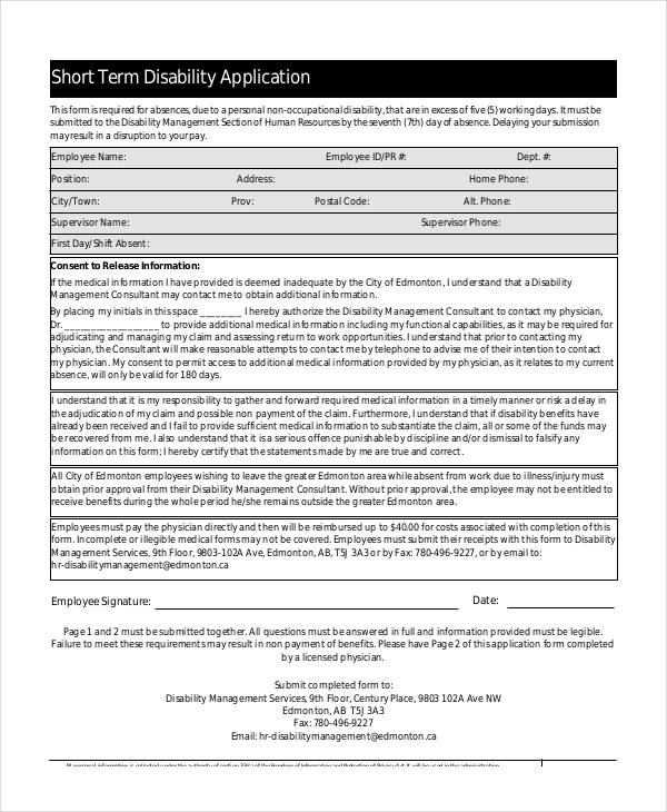 Free 9 Sample Disability Application Form In Sample