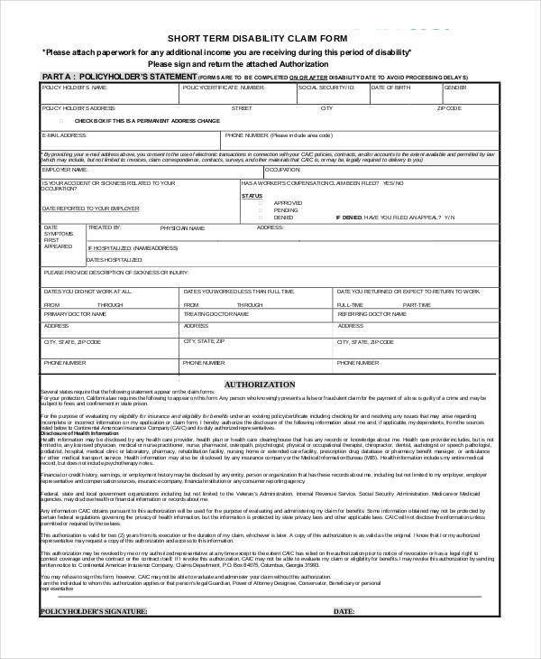 short term disability claim form1