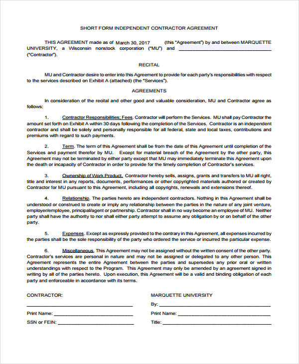 Contract Agreement Forms In Pdf