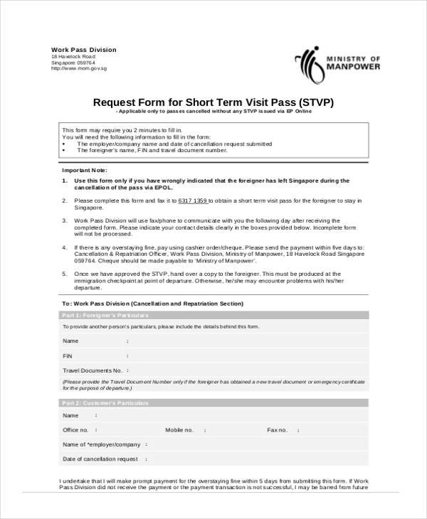 short term visit travel request form