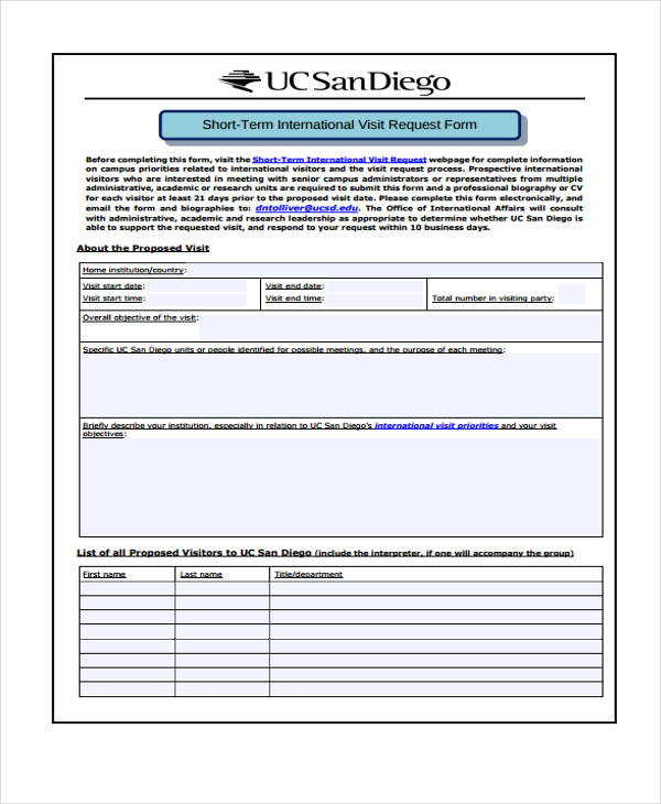 short term visitor travel request form
