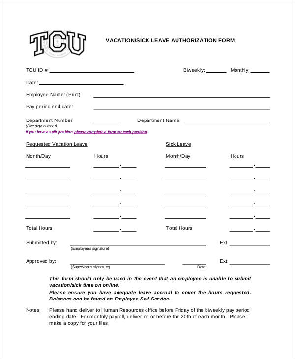 sick leave authorization form