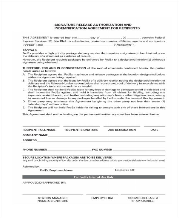 signature release authorization form
