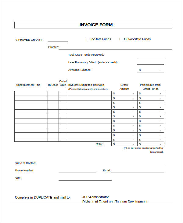 simple blank invoice form