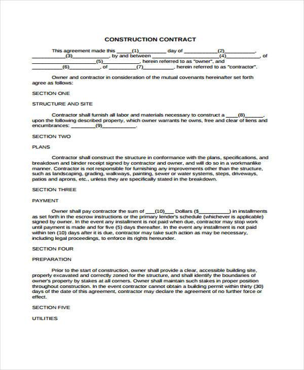 simple construction agreement form