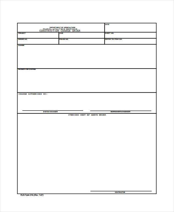 simple construction change order form