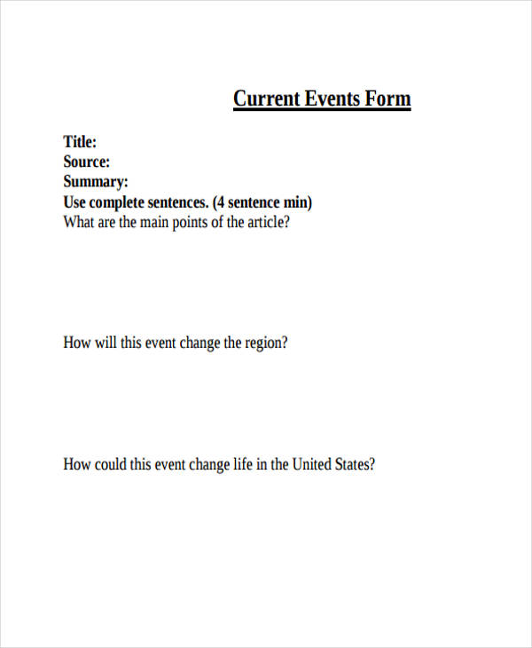 Free Event Forms   Free Documents In Word Pdf