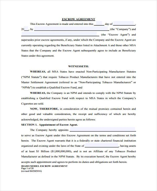 simple escrow agreement 10  Escrow Agreement Form Samples - Free Sample, Example Format Download