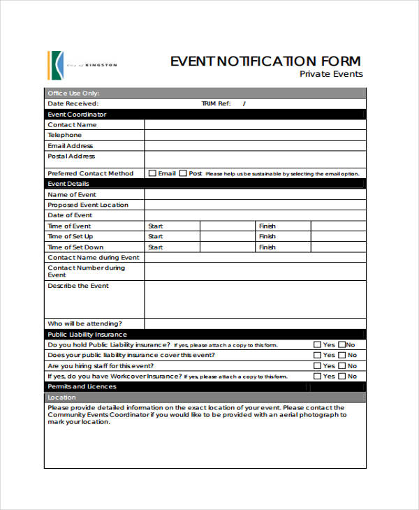 simple event notification form