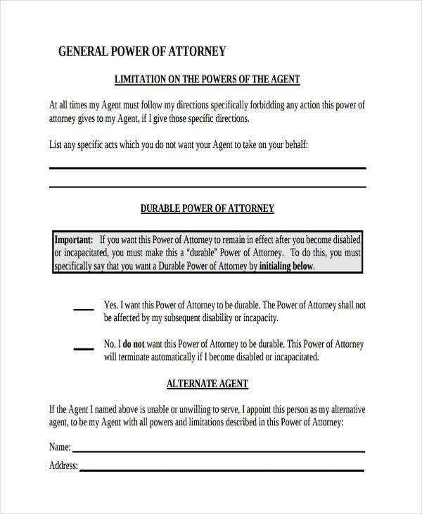 simple financial power of attorney form