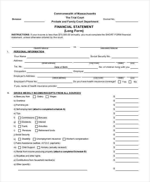 36 Free Statement Forms