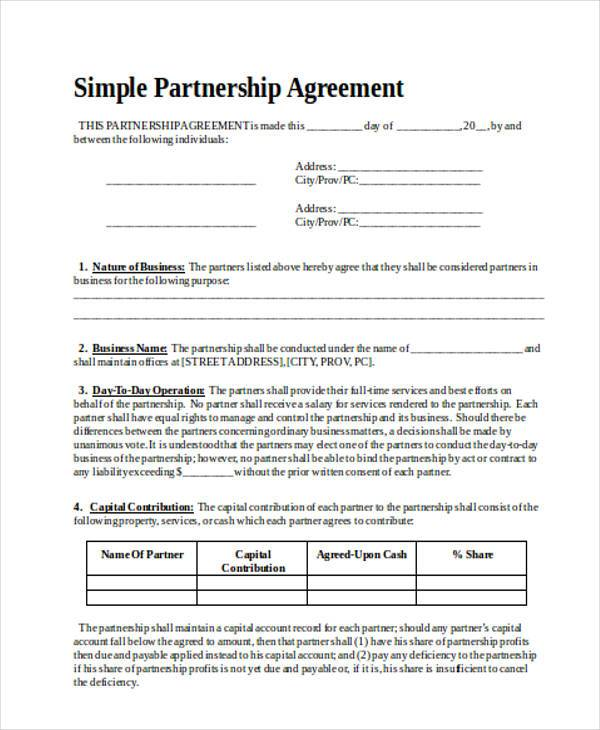 Agreement Forms in Word – Simple Business Partnership Agreement