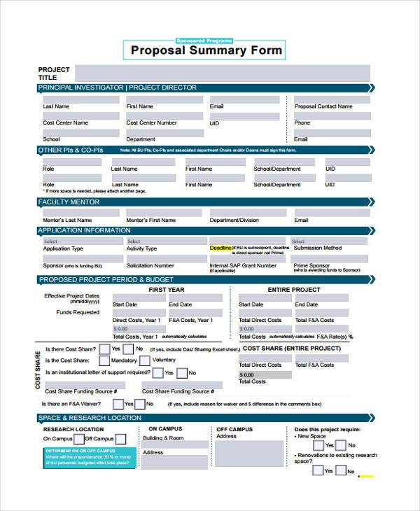 simple proposal summary form