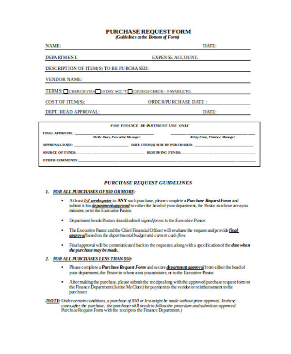 simple purchase request form