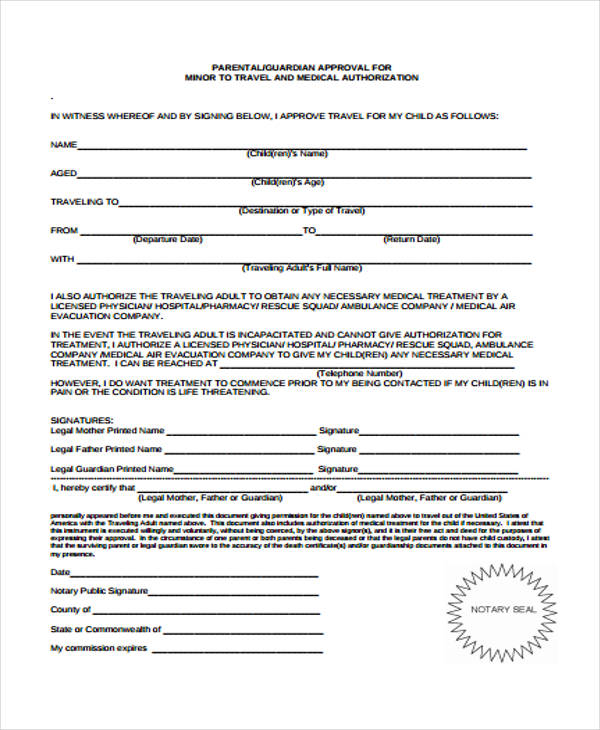 single parent travel consent form