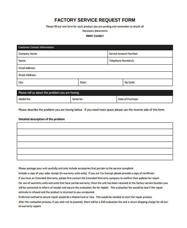 Factory Service Form  Customer Contact Information Form