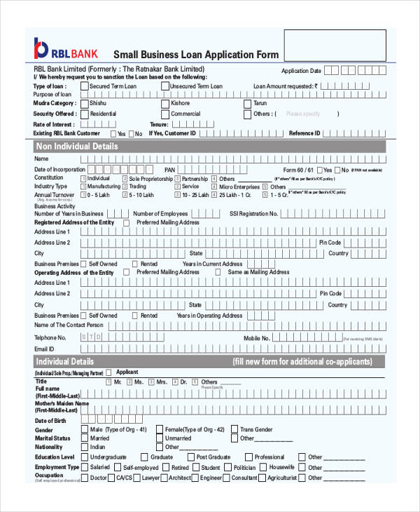 Small Business Form  Free Sample Example Format Download