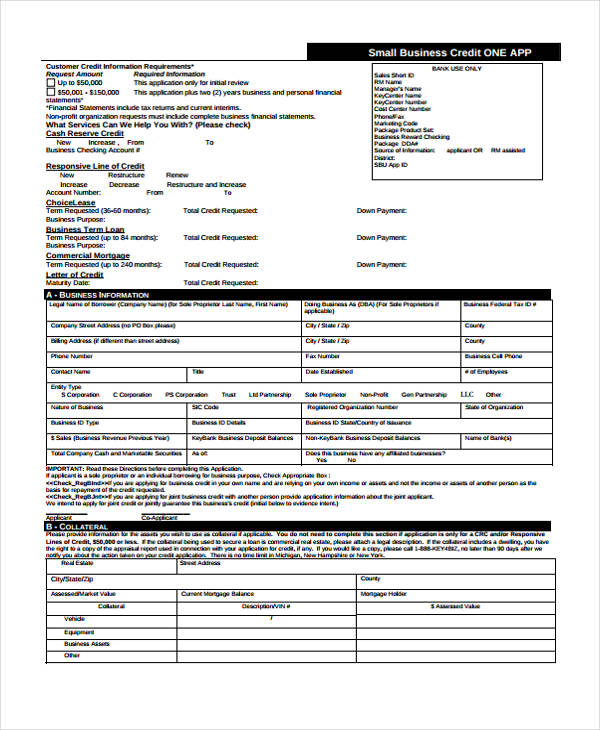 21 free credit application forms for Commercial credit application template