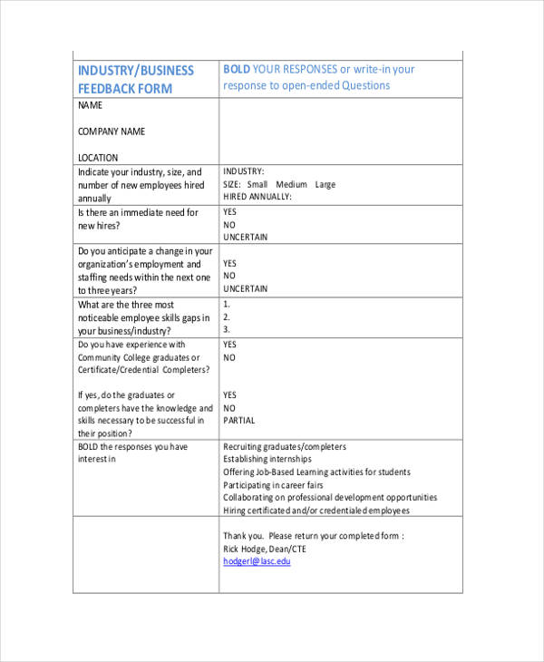 small business feedback form