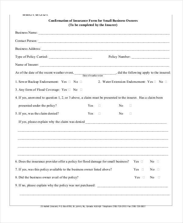 small business insurance form