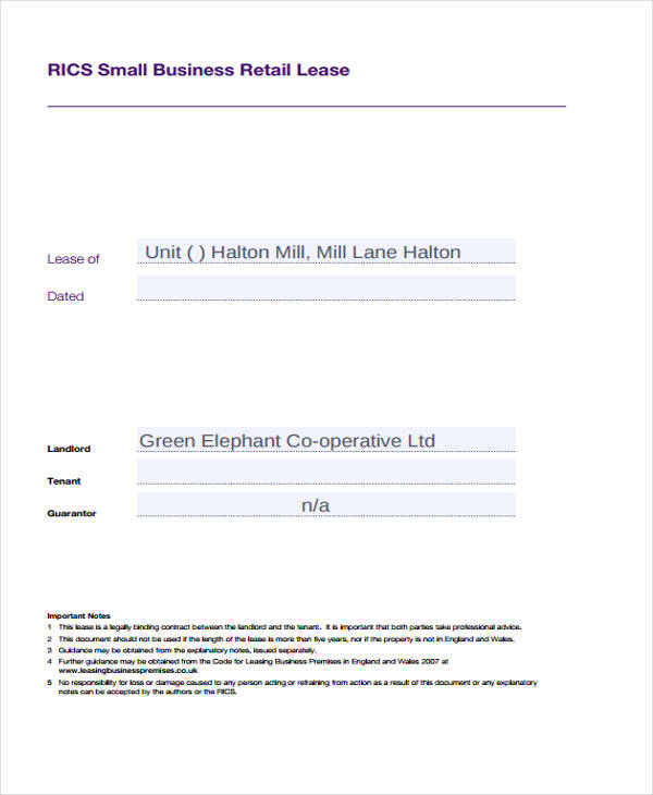 small business retail lease contract form