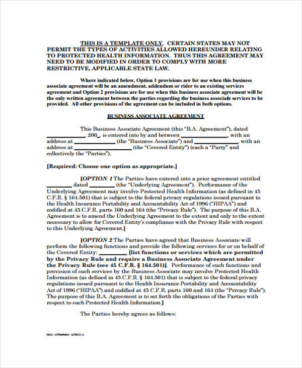 Free Business Agreement Form 30 Free Documents in Word PDF – Business Associate Agreement Samples