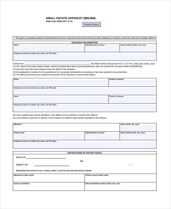 small estate blank affidavit form