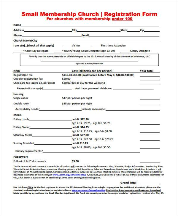 small membership church registration form