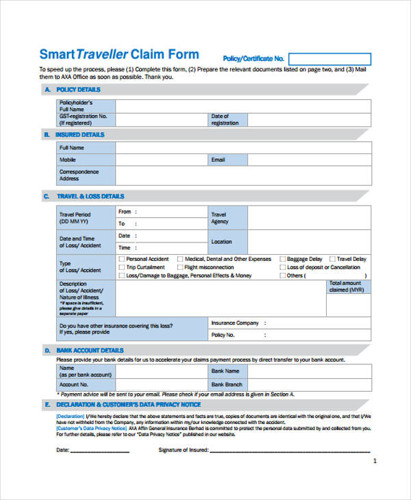 hcf smart term insurance claim form pdf