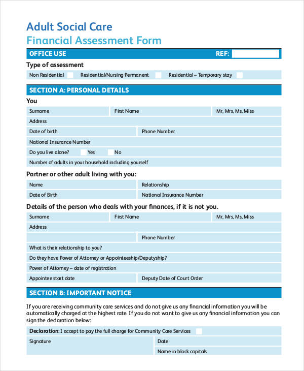 social care nursing adult assessment form