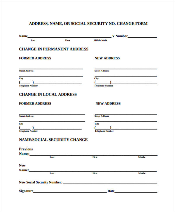 Social Security Address Change Form