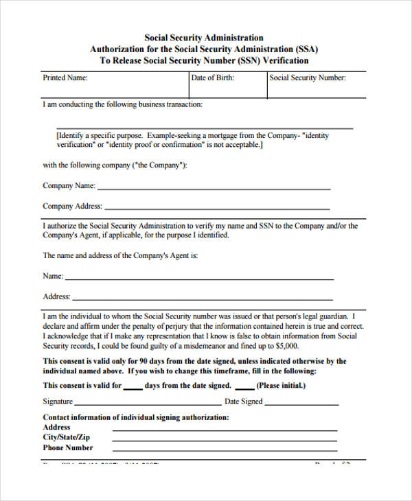 social security authorization form