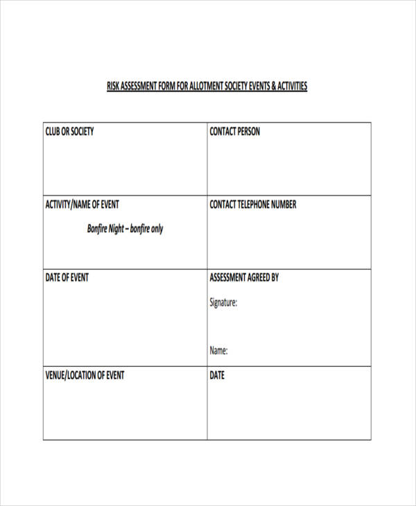 society events allotments risk assessment form