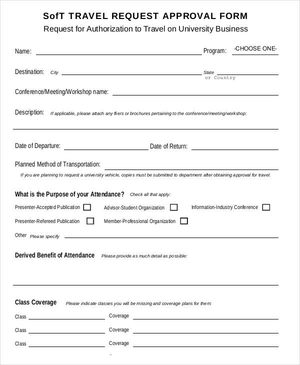 soft travel request approval form