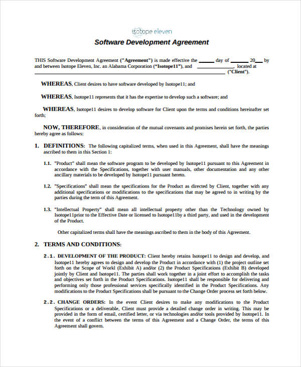 Software Development Agreement Form
