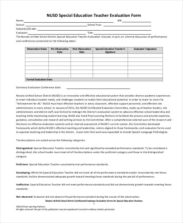 special education teacher evaluation form1